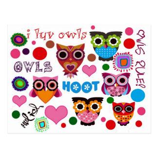 Retro Owls Postcard