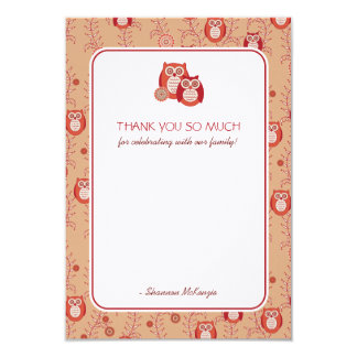 "Retro Owls Thank You Flat Cards 3.5"" X 5"" Invitation Card"