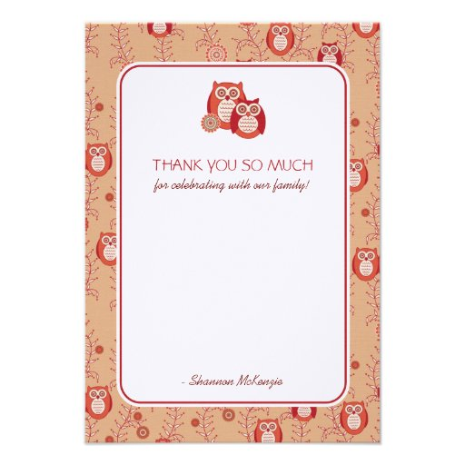 Retro Owls Thank You Flat Cards Invitations
