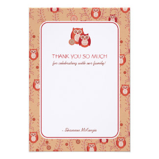 Retro Owls Thank You Flat Cards Invitations