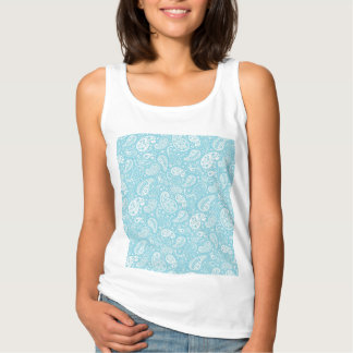 Retro Paisley in Teal Blue Tank Top