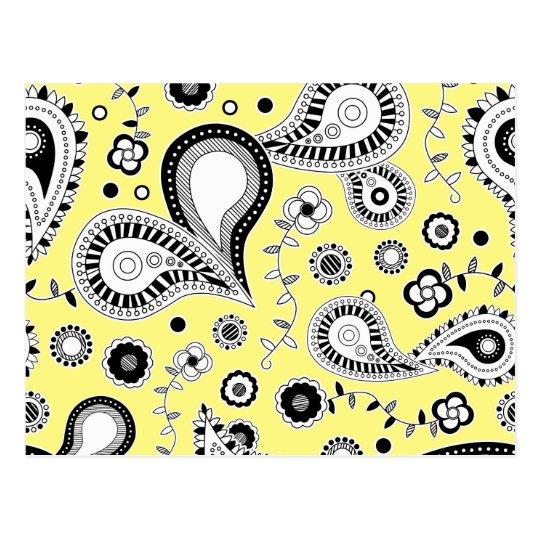 Retro Paisley Pattern Yellow Postcard