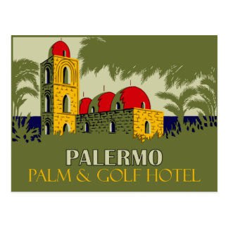 Retro Palermo Sicily hotel travel ad Postcard