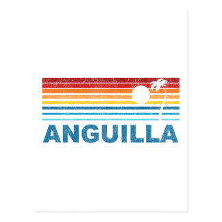 Retro Palm Tree Anguilla Postcard