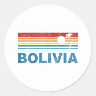 Retro Palm Tree Bolivia Classic Round Sticker