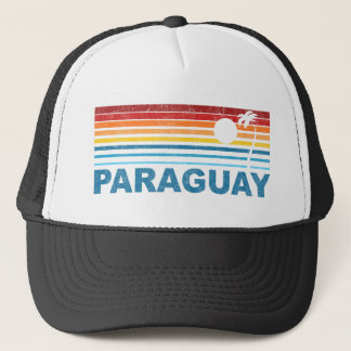 Retro Palm Tree Paraguay Trucker Hat