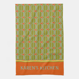 Retro Panels Personalized Kitchen Towel