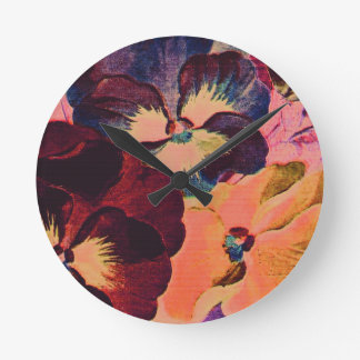 Retro Pansies Round Clock