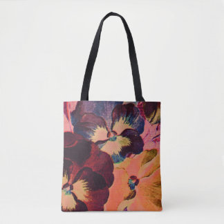 Retro Pansies Tote Bag