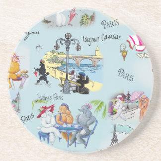 Retro Paris Poodle Collage Coaster