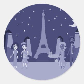 Retro Paris Round Sticker
