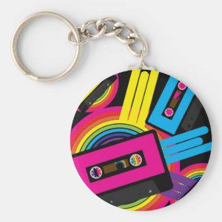 Retro Party Design Basic Round Button Keychain