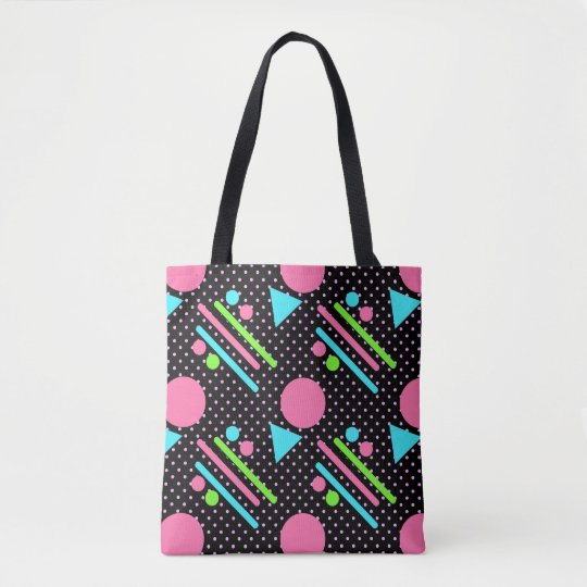 Retro Party Pattern Black Tote Bag