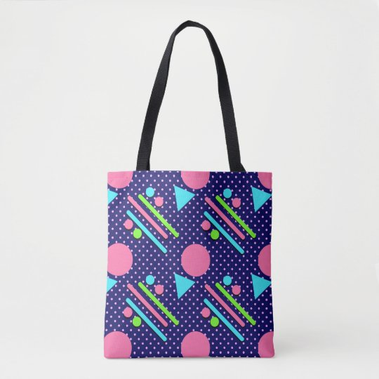 Retro Party Pattern Blue Tote Bag