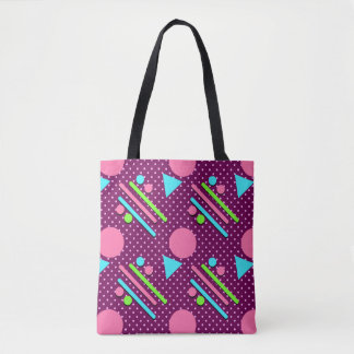 Retro Party Pattern Purple Tote Bag