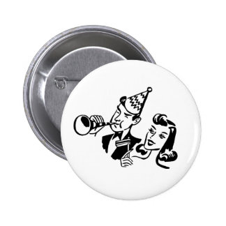 Retro Party People Celebrating a Special Occasion 2 Inch Round Button