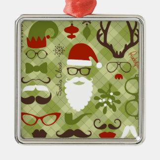 Retro Party Set - Santa Claus Beard, Hats, Deer Metal Ornament