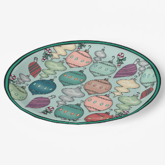 Retro Pastel Christmas Ornaments on Opal Blue 9 Inch Paper Plate