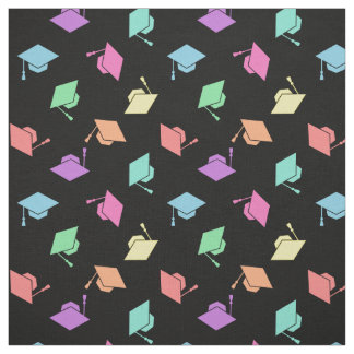 Retro Pastel Graduation Cap Pattern Fabric