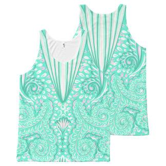 Retro pastel sea green pattern All-Over-Print tank top