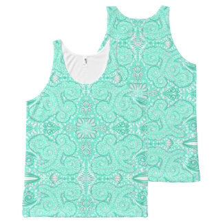 Retro pastel sea green pattern All-Over-Print tank top