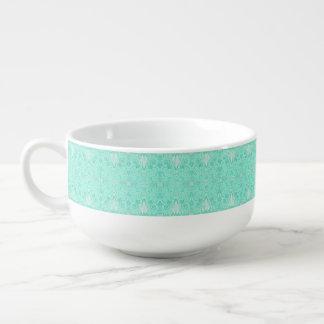 Retro pastel sea green pattern soup mug