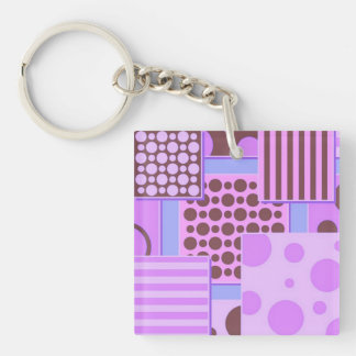 Retro Patchwork,pink Double-Sided Square Acrylic Keychain