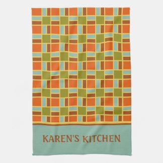 Retro Patio Tiles Personalized Kitchen Towel