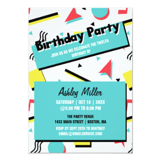 Retro Pattern 90s Themed Birthday Party Card