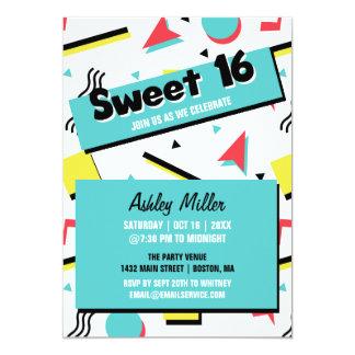 Retro Pattern 90s Themed Sweet Sixteen Card
