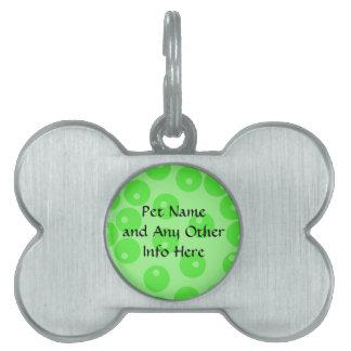 Retro pattern. Circle design in green. Pet Name Tag