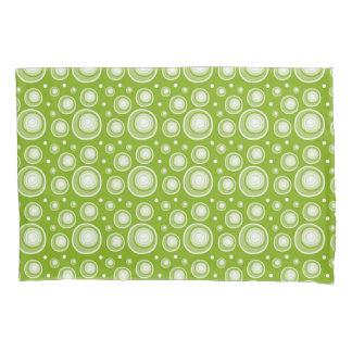 Retro Pattern  Green And White Polka Dots Pillowcase