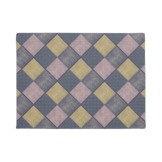 Retro Pattern Pink and Gray Doormat