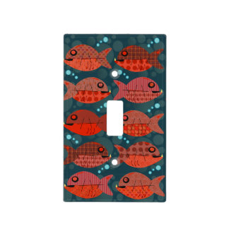 Retro Pattern Red Fish Light Switch Cover