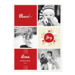 Retro Peace Love Joy Holiday Photo Greetings Custom Announcement