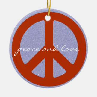 retro peace sign ceramic ornament
