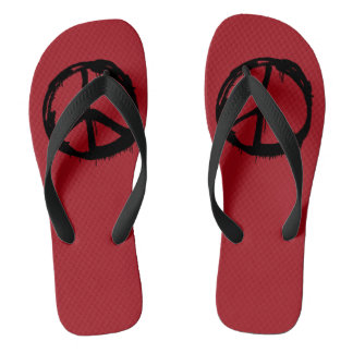 Retro Peace Sign Hippy Colorful Flip Flops