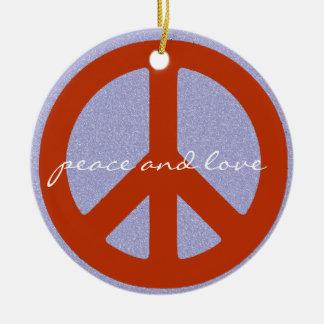 retro peace sign round ceramic ornament