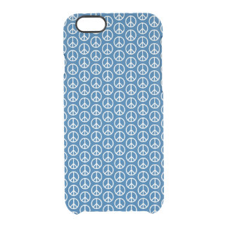 Retro Peace Signs on Deep Blue Clear iPhone 6/6S Case