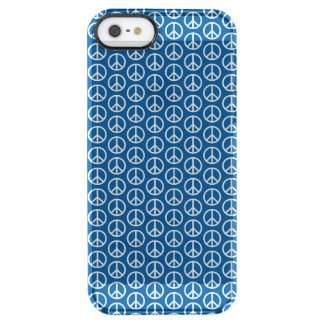 Retro Peace Signs on Deep Blue Clear iPhone SE/5/5s Case