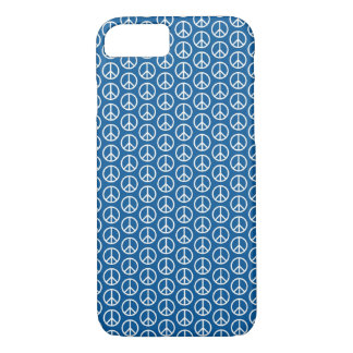 Retro Peace Signs on Deep Blue iPhone 7 Case