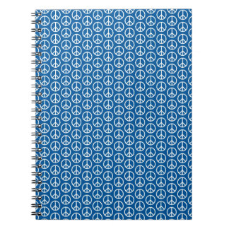 Retro Peace Signs on Deep Blue Notebook