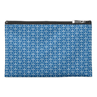 Retro Peace Signs on Deep Blue Travel Accessories Bag