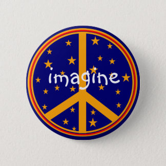 Retro Peace Symbol  Imagine Buttons Navy and Gold