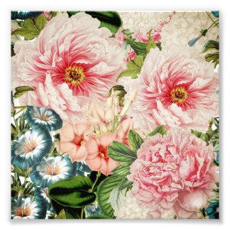 Retro Peony Flower Spring Floral Pattern Art Photo