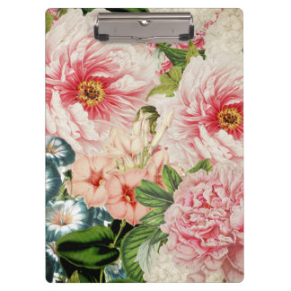 Retro Peony Flower Spring Floral Pattern Clipboard