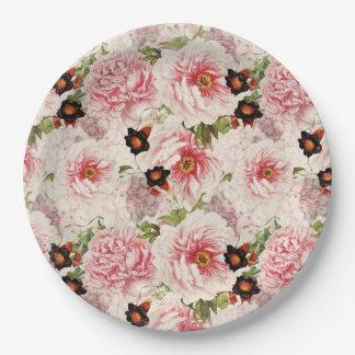 Retro Peony Flower Spring painterly Pattern Paper Plate