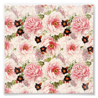 Retro Peony Flower Spring painterly Pattern Photo Print