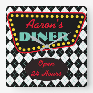 Retro Personalized Diner Kitchen Clock Gift