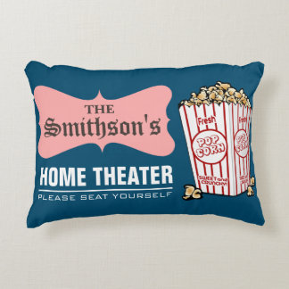 Retro Personalized Family Name Home Theater Decorative Pillow